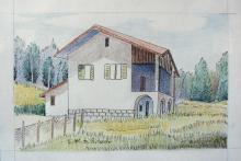 Matita di legno colorate e china su carta 'Villa dell'Ovadese'