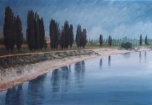 Olio su tela 'Il Po a Cremona'