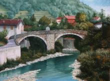 olio su tela 'ponte ligure' cm30x40