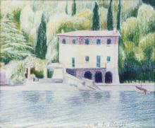 Matite colorate 'villa presso Limone del Garda'