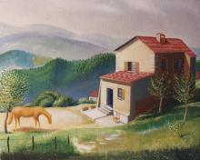Olio su tela 'Casa della Mariona, Pereto (Sant'Agata Feltria)'