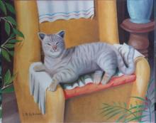 Olio su tela 'Gatto sulla poltrona'