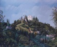 Olio su tela 'San Michele di Gaino di Toscolano'