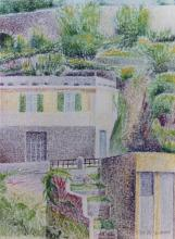 Pastello a cera su cartone telato 'Paesaggio di via del Manzasco a Genova'