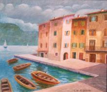 Pastello ad olio su legno 'lago di Garda'