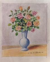 Matite colorate su carta bianca 'Rose'