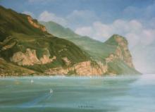 Olio su tela 'San Faustino di Gargnano e monte Castello'
