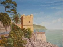 olio su tela 'torre Gropallo di Genova Nervi'