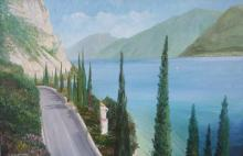 Olio su tela 'sponda bresciana del lago di Garda'