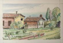 Matita colorata e china 'Paesaggio dei mulini di Maderno'
