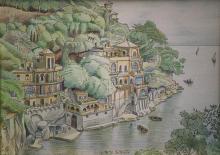 China e matite colorate 'Paraggi di Portofino'