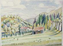Matite colorate e china 'Paesaggio ligure con grande prato'