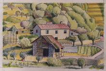 China e matite colorate 'Casa contadina nelle alture di Voltri'