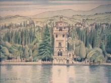 China e matite colorate 'Torre S. Marco - Gardone del Garda'