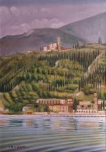 Olio su tela 'Golfo di Maderno e chiesa di Maclino'