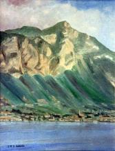 Olio su tela 'Gargnano e il Monte De Nervo'