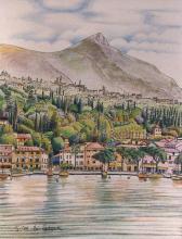 China e matite colorate 'Il golfo di Maderno e il Monte Pizzocolo'