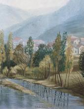 Olio su tela 'Le tre fontane in Creto il ruscello'