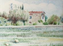 Pastello a olio su cartone telato 'Paesaggio dei Mulini di Maderno'