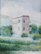 Pastelli a olio su carta 'Casa di collina, Genova'