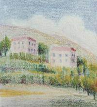 Pastello a cera 'Case nelle alture di Genova'