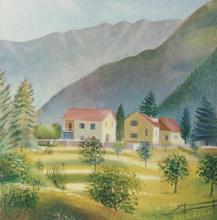 Olio su tela 'Le Tre Fontane (Genova)'