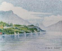 Pastelli a cera e a olio su cartone telato 'Dintorni di Cecina fin sul lago'