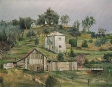 Olio su tela 'Casa contadina su colline di Genova Pra'