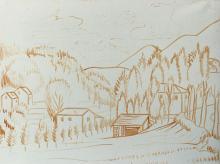 Pennello su tela 'Disegno preparatorio su paesaggio ligure con grande prato'