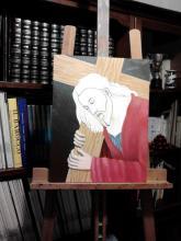 Olio su tela - Gli abiti del Cristo che porta la croce