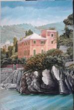 """Olio su tela """"porticciolo di Genova Nervi"""""""