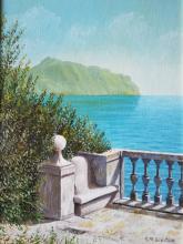 Olio su tela - Il Monte di Portofino visto da Villa Luxoro di Genova Nervi