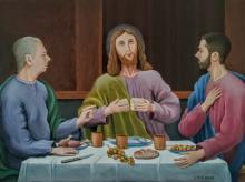 """La Cena di Emmaus  ( """"... e lo riconobbero allo spezzare del pane... - San Luca evangelista 24, 13) - Olio su tela"""