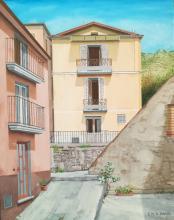 Olio su tela - 'Mammola, casa dei compianti suoceri (frontalmente) in Vico Annunziata 2'