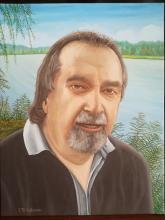 Olio su tela 'Ritratto dell' amico Luciano Perotto musicista e radiologo. Sullo sfondo il Po nei dintorni di Brescello'