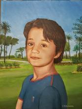 Ritratto del nipotino Emanuele. Sullo sfondo il parco di Genova Nervi. Olio su tela.