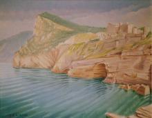 """Olio su tela """"Portovenere - il castello e la grotta"""""""