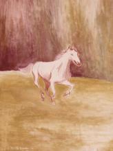 Olio su tela 'Cavallo al galoppo'