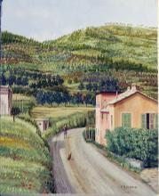 Olio su tela 'colline di Genova Pra' cm30x40