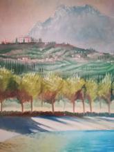 Olio su tela 'il vialone di Toscolano sul Garda'