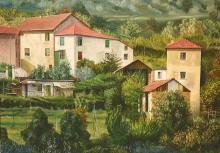 "Olio su tela ""borgo alta Liguria"""