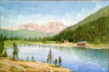 Olio su tela - Lago di Nambino in Val Rendena - Proprietà della famiglia Antonio Cerchiaro